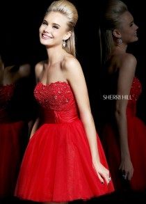 wedding photo - Short Red Strapless Lace Beaded Top Tulle Homecoming Dress