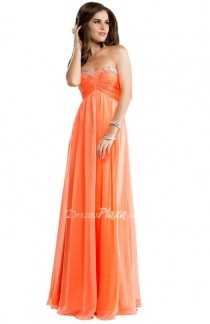 wedding photo - Strapless Chiffon Babydoll Apricot Sweetheart Prom Dress