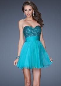 wedding photo - Short Peacock Sequined Strapless Bodice Homecoming Dress