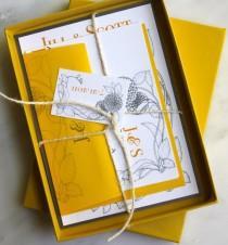 wedding photo - Vintage Jaune - Boho Invitations de mariage, jaune, ivoire ficelle, Brown Kraft - Achat d'un échantillon