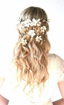 wedding photo - Bridal Crown, Flower Head Wreath, Wedding Hair Accessory, Woodland Hair Piece, Hair Wreath, Circlet, Ivory, Pearl, Silver, Headpiece - HERA