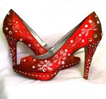 wedding photo - Chaussures de mariage de flocons de neige de mariage d'hiver Rouge à lèvres rouge Bling de Noël