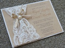 wedding photo - ABIGAIL - Lace & Burlap invitación de la boda - Personalizable - perlas y encajes