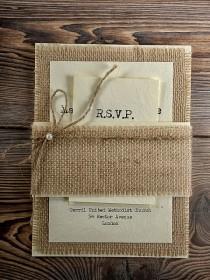 wedding photo - Invitación de la boda de la arpillera rústico, invitaciones de la boda del estilo del Condado, Invitación rústica de la boda