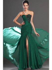 wedding photo - Trumpet/Mermaid Strapless Sleeveless Beading Ruched Chiffon Dress
