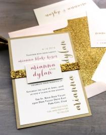 "wedding photo - Glitter Invitations, Wedding Invitations, Gold Wedding Invitations, Gold Wedding, Glitter Envelope Liners - ""Gold & Glitter"" Deposit"