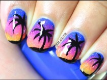 wedding photo - Palm Trees At Night Nails