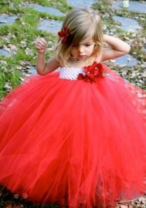wedding photo - Red White Tutu Dress For Christmas With Shimmer Tulle And Jeweled Hydrangea Flowers For Toddler Girls