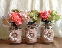 wedding photo - rustic burlap and lace covered mason jar vases