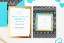 wedding photo - Alana's Modern Teal + Gold Bachelorette Party Invitations