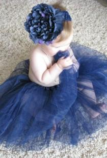 wedding photo - Tutu Cute In Navy Blue - Tutu, Flower Clip, And Headband Set For Baby Toddler Child