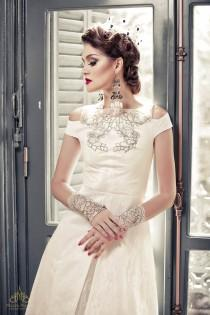 wedding photo - A-line wedding dress with cut-out detail, bead lace in classic split gown