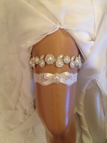 wedding photo - Wedding Garter Set, Ivory Bridal Garter Set, Ivory Organza/satin Ribbon, Pearl/rhinestone, Ivory Lace