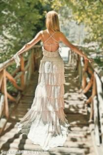 wedding photo - Blush Pink Lace Bohemian Wedding Dress Bridal Wedding Gown - Handmade By SuzannaM Designs