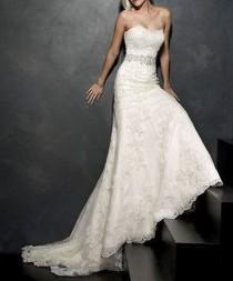 wedding photo - Sweetheart Bridal Wedding Lace Wedding Dress Custom Made Applique Size 6-8-10-12-14