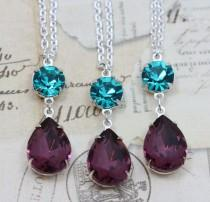 "wedding photo - Peacock Wedding Jewelry Necklace Bridesmaids Matching - Teal & Purple Amethyst Vintage Glass Silver 16"" Chain"