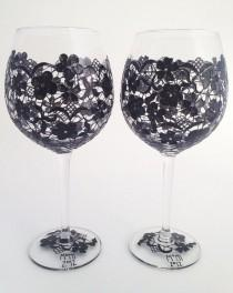 wedding photo - Pair Of Black Lace Wine Goblets