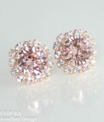 wedding photo - Blush Pink Crystal Earrings, Rose Gold Bridal Earrings, Swarovski Earrings,crystal Earrings, Blush Pink Earrings,Blush Pink Wedding Jewelry