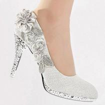 wedding photo - Silver Vogue Lace Flowers Glitter Crystal High Heels Wedding Bridal Shoes