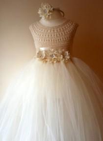 wedding photo - Ivory Flower Girl Dress, Ivory Tutu Dress, Bridesmaid Dress, Princess Dress, Ivory Crochet Top Tulle Dress, Ivory Hand Knit Tutu Dress