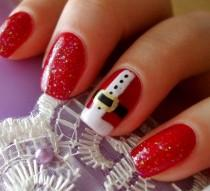 wedding photo - Cute Santa Claus Nail Designs