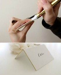 wedding photo - DIY Place Cards With Metallic Gold Leafing Edge