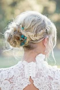 wedding photo - Blue pearl band with side bun