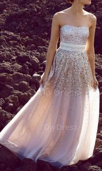 wedding photo - A-line Strapless Gold Sequins Lace Champagne Tulle Floor-lenth Prom Dresses,Beaded Evening Dresses
