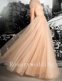 wedding photo - Cap Sleeves Champagne Tulle Prom Dress