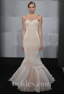 wedding photo - Mark Zunino For Kleinfeld - 2013 - Style MZBF67 Strapless Blush Beaded Tulle Trumpet Wedding Dress