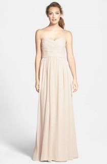 wedding photo - ML Monique Lhuillier Bridesmaids Monique Lhuillier Bridesmaids Strapless Ruched Chiffon Sweetheart Gown
