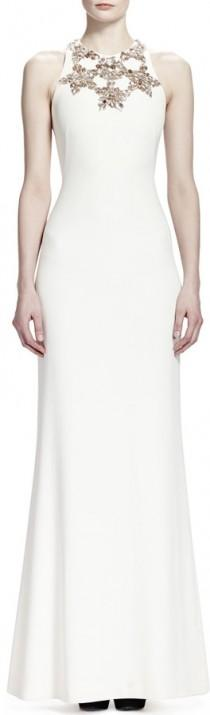 wedding photo - Alexander McQueen Sleeveless Star Bodice Gown, Vanilla