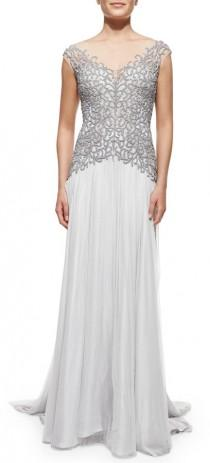 wedding photo - Catherine Deane Cap-Sleeve Beaded-Bodice Gown