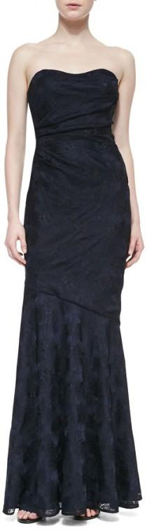 wedding photo - David Meister Strapless Sweetheart Ruched Gown, Navy/Black