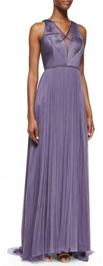 wedding photo - Catherine Deane Sleeveless Draped Gown with Shirred Bodice