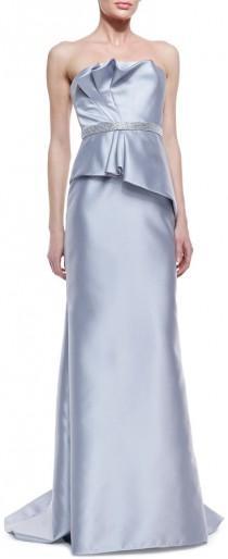 wedding photo - Carmen Marc Valvo Strapless Ruffle-Bodice Beaded-Waist Gown, Silver