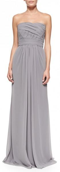wedding photo - ML Monique Lhuillier Strapless Draped Ruched-Bodice Gown, Slate