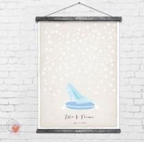 wedding photo - Cinderella Wedding Guest Book Alternative, Glass Slipper With Stars