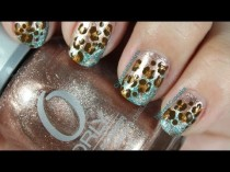 wedding photo - Leopard Print Nail Art With A Hint Of Blue