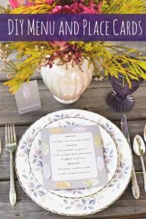 wedding photo - DIY Feather Motif Menu and Escort Cards