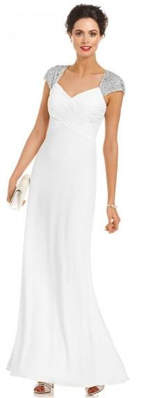 wedding photo - JS Boutique Cap-Sleeve Beaded Gown