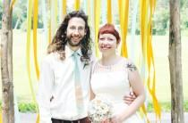 wedding photo - Angi & Bret's polyamorous backyard wedding