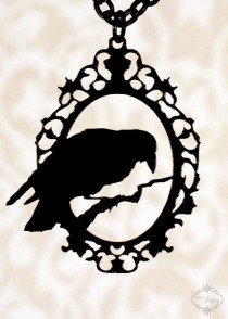 wedding photo - PREORDER - Perched Raven Cameo Silhouette Necklace In Black Stainless Steel