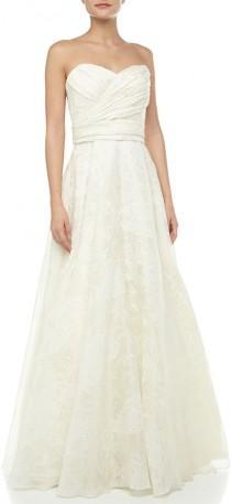 wedding photo - Theia Strapless Lace-Print Bridal Gown, Off White
