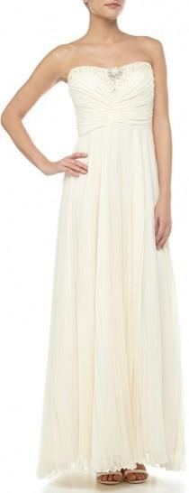 wedding photo - Theia Strapless Plisse Chiffon Bridal Gown, Ivory
