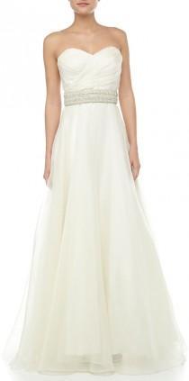 wedding photo - Theia Strapless Bead-Waist Bridal Gown, Ivory