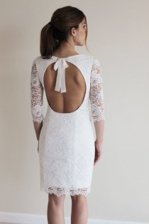 wedding photo - Reception Dress, Short Wedding Dress With Open Back, Custom Made French Lace Dress
