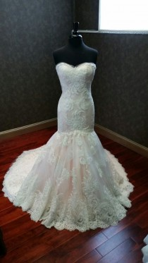 wedding photo - Blush And Ivory Mermaid Wedding Dress Ready To Ship