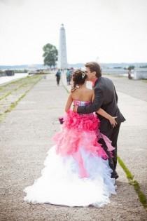 wedding photo - Stunning Alternative Wedding Dress In Pink And White