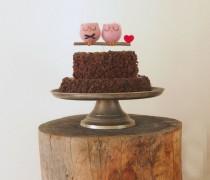 wedding photo - Rustic Wedding Cake Topper, Woodland Love Owls, Pastel Pink, Needle Felted Unique